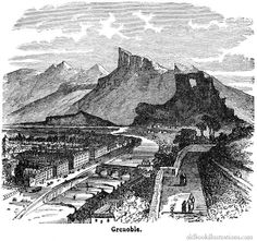 Illustration showing Grenoble, a city and commune in south-east France situated at the foot of the Alps where the Drac joins the Is�re River