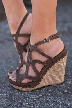 44aa38051afcb0 On The Sea Strappy Platform Wedges (Taupe) Wedge Shoes