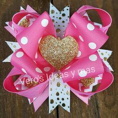 Moño san Valentin  Dorado rosa y blanco