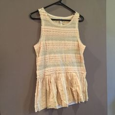 Sheer Free People Worn but in good condition no rips stains or tears is sheer and needs to be worn with something else super cute and perfect for spring and summer bundle for a better price! Free People Tops Tank Tops