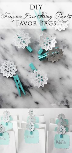 DIY Snowflake Birthday Party Favor Bags