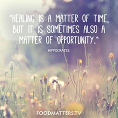 """""""Healing is a matter of time, but it is sometimes also a matter of opportunity."""" - Hippocrates  www.hungryforchange.tv"""