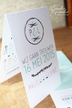 Ontwerp trouwkaart op maat gemaakt.  Gaan jullie trouwen, een kleintje op komst of iets te vieren? En op zoek naar een kaart voor dit bijzondere moment? Studio Bijzonder zet jullie wensen graag om naar een prachtige of stoere unieke trouwkaart / geboortekaartje of uitnodiging.