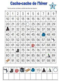 MZ Kathalynn: Tableau de 100 sur le thème de l'hiver Exercices de numération cp-ce1