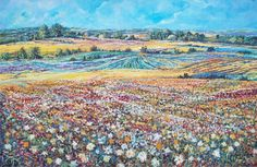 "ARTFINDER: Flower Field by Sinisa Saratlic - Medium : acrylic on canvas, original painting  Dimensions : 36"" x 24"" ( 91,44 cm x 60.96 cm )  Finish: Professional grade acrylics on stretched canvas. ..."