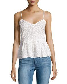 Plenty by Tracy Reese Flower Embroidered Peplum Tank Top, White, SMALL | 62% OFF
