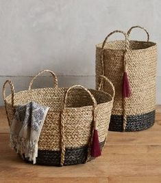 Balinese Tassel Basket by Anthropologie in Grey Size: M, Storage Sisal, Decor Crafts, Home Crafts, Creative Kids Rooms, Balinese, Modern Boho, Woodworking Crafts, Basket Weaving, Diy Bedroom Decor
