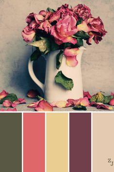 Coral Colour Palette, Vintage Colour Palette, Gold Color Palettes, Coral Color, Colour Schemes, Vintage Colors, Vintage Flowers, Color Combos, Vintage Window Decor