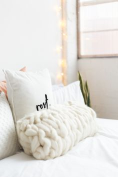 DIY Arm Knitted Cushion Cover.