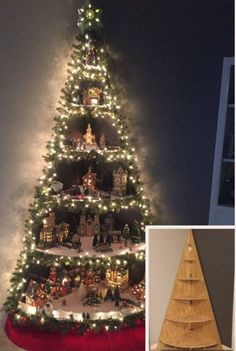 33 Awesome DIY Christmas Decorations on a Budget - Christmas Village Display - Diy Christmas Lights, Decoration Christmas, Christmas On A Budget, Wooden Christmas Trees, Christmas Mantels, Christmas Tree Themes, Outdoor Christmas, Christmas Crafts, Christmas Wreaths