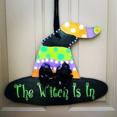 Check out our wooden holiday door hanger selection for the very best in unique or custom, handmade pieces from our shops. Halloween Wood Crafts, Halloween Yard Decorations, Fall Crafts, Fall Halloween, Fall Decorations, Red Heart Patterns, Burlap Door Hangers, Homemade Valentines, Valentine Wreath