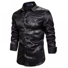 Buy Luxury Sequin Shirts Long Sleeve Silk Satin at www. Casual Shirts, Men Shirts, Sequin Shirt, Fashion Site, Mens Fashion, Mens Button Up, Collar Pattern, Fabric Samples, Sweater Shirt