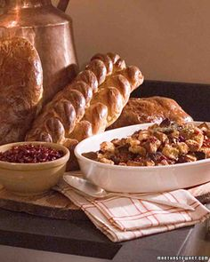Cornbread and Pumpkin Challah Stuffing with Dried Fruit Recipe