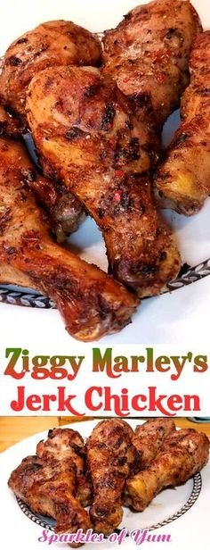 Ziggy Marley s Jerk Chicken is for you if you like it hot Perfectly grilled chicken topped with a spicy and savory glaze Take your taste buds to the island without ever leaving your home grilledchicken Jamaican jerkchicken dinnerideas Jamaican Dishes, Jamaican Recipes, Jamaican Cuisine, Grilled Chicken Recipes, Fried Chicken, Grilled Jerk Chicken, Grilled Chicken Drumsticks, Jerk Shrimp, Food Shrimp