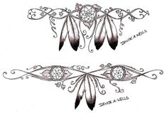 "+small feather and dream catcher tatoos | Dreamcatcher and Eagle Feathers"" tattoo design by Denise A. Wells ..."