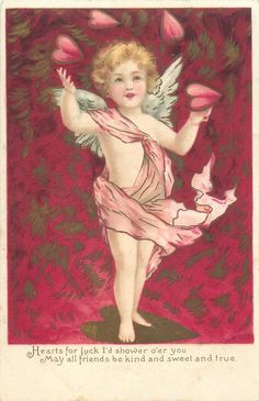 HEARTS FOR LUCK I'D SHOWER O'ER YOU MAY ALL FRIENDS BE KIND AND SWEET AND TRUE Valentine Images, Vintage Valentine Cards, Vintage Greeting Cards, Funny Valentine, Vintage Postcards, Valentines Art, Vintage Love, Vintage Images, Angel Guide