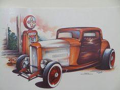 Three Window 30s Hot Rod Car Mens Quality T by OldSaltSailorTees