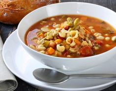 SARDINIA MINESTRONE A bountiful dish that is eaten every day for lunch by the some of the world's longest-lived families in Sardinia, Italy. It can be made with seasonal vegetables from the garden, but always includes beans and fregula, a toasted pebble-size semolina pasta that is popular in Sardina.