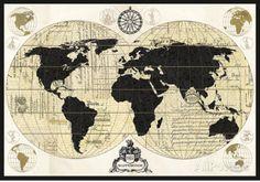 Carte du monde vintage Posters par Devon Ross sur AllPosters.fr