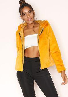 3cdf4ad336ce Missyempire - Zinnia Mustard Faux Fur Hooded Jacket Faux Fur Hooded Jacket
