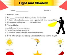 English Worksheets For Kids, 2nd Grade Worksheets, Science Worksheets, Grade 2 Science, Notebook Ideas, Fourth Grade, Light And Shadow, Kids Education, Social Studies