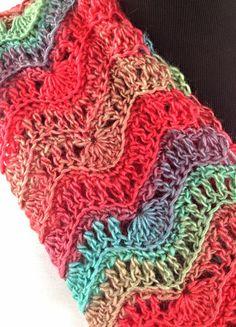 Wavy Rainbow Crochet Infinity Scarf by DapperCatDesigns on Etsy