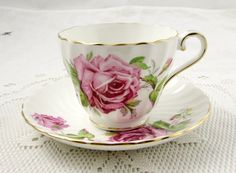 Aynsley Tea Cup and Saucer with Cabbage Rose, Swirled Ribbing, Vintage Bone China