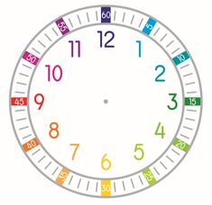 Teach your class about the fundamentals of telling time with this clock that has the minutes incorporated in rainbow colors. Time Clock, Telling Time, To Tell, Textbook, Rainbow Colors, Texts, Teaching, Rainbow Colours, Education