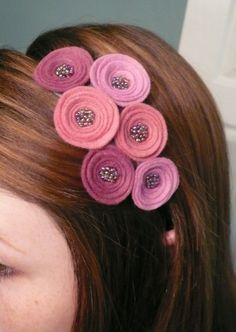 Fancy Flora headband- felt and seed beads... created by me!
