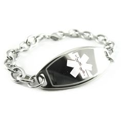 Womens Steel Medical ID Bracelet, White Symbol, O-LINK Chain - Free ID Card - Listing price: $34.99 Now: $28.99