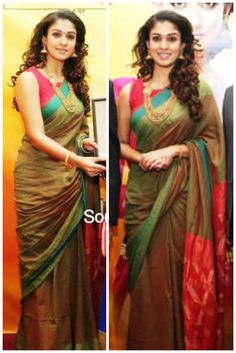 Nayanthara at a GRT Jewellers event in Dubai wearing a Green handloom cotton saree paired with red sleeveless boat neck blouse.