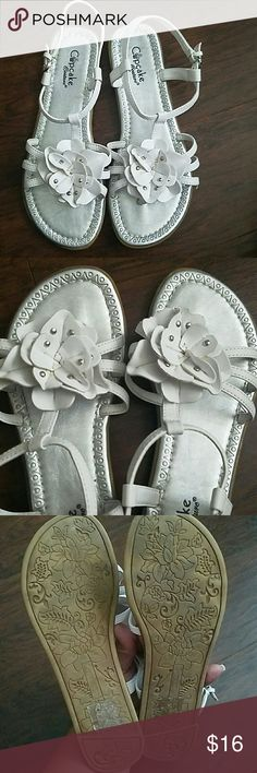 ***Reduced** Cupcake Couture sandals, girls size 3 Cute and fun, white sandals with flower and studded embellishment. Silver lining. Worn once. cupcake couture Shoes Sandals & Flip Flops