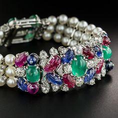 Art Deco Platinum Ruby Emerald Sapphire Tutti Fruiti Style Diamond and Pearl Bracelet - Antique & Vintage Bracelets - Vintage Jewelry Antique Bracelets, Gemstone Bracelets, Pearl Bracelet, Antique Jewelry, Vintage Jewelry, Spoon Jewelry, Gems Jewelry, Art Deco Jewelry, Jewellery