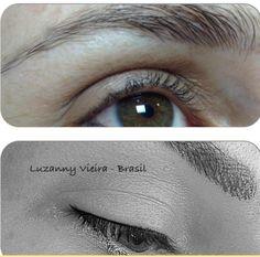 Antes e depois. Sobrancelhas e delineador de olhos. By Luzanny Vieira - Brasil