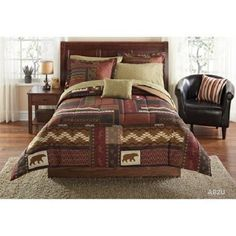 TWIN FULL QUEEN Brown Red Rustic Lodge Cabin BEAR MOOSE Comforter Bed In  Bag SET
