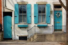 Turquoise shutters and doors - photo by Nichole of Little Brown Pen (featured on House of Turquoise blog)