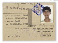 Fitxa federativa d'en Guardiola quan era jove