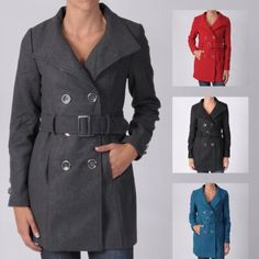Ci Sono by Journee Juniors Double-breasted Belted Long Coat