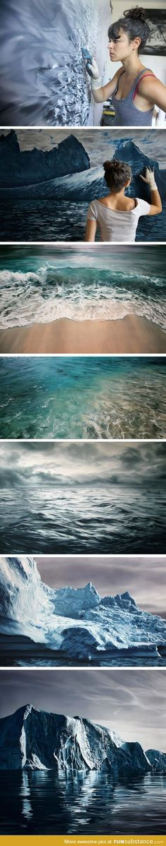 """PASTELS BECOME WATER"".....ZARIA FORMAN's photorealist paintings of the ocean and remote, icy landscapes are painted by hand—quite literally using her fingertips to render marks in paint and chalk, rather than brushes. Forman uses layers of paint to make the distinctive shadows and ripples that make her works of art look so real. Her landscapes capture the beauty of randomly formed icy landscapes."