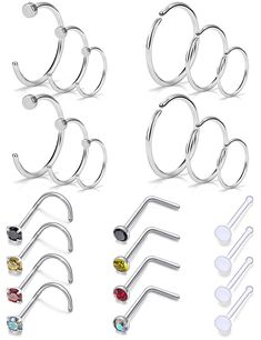 D.Bella 30 Pcs 20G Surgical Steel Hoop Nose Rings Screw Bone L-Shaped Nose Stud Rings Piercing Jewelry Retainer Colored CZ Inlaid for Women Men