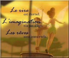 Le rire est éternel. L'imagination n'a pas d'âge. Les rêves sont immortels. Phrase Disney, Citation Walt Disney, Peter Pan Imagines, Image Citation, Disney Images, Peter Pan Disney, French Quotes, Positive Attitude, Positive Affirmations