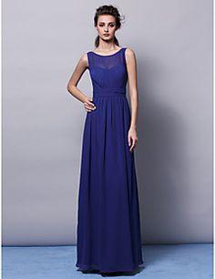 Vestido de dama de honor Corte Recto - Escote Joya - Hasta el Suelo ( Gasa )