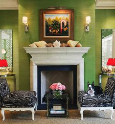 Inside A Palm Beach Bermuda-Style Bungalow - The Glam Pad.  Sea shells on the mantel - so Florida.