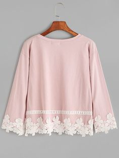 Shop Pink Drop Shoulder Appliques T-shirt online. SHEIN offers Pink Drop Shoulder Appliques T-shirt & more to fit your fashionable needs. Stylish Dresses For Girls, Stylish Dress Designs, Designs For Dresses, Girls Fashion Clothes, Teen Fashion Outfits, Clothes For Women, Kurta Designs, Blouse Designs, Cute Casual Outfits
