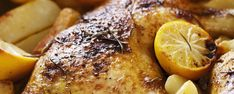 Lemon Herbed Chicken with Roasted Potatoes. this is seriously delish, don't expect left overs from this one! Roasted Chicken And Potatoes, Roast Chicken, Lemon Herb, Delish, Healthy Eating, Herbs, Lunch, Oil, Dinner