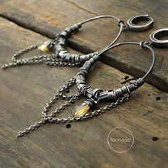Citrien oorbellen - geoxideerde sterling zilver en Citrien hoop Earrings hoop earrings