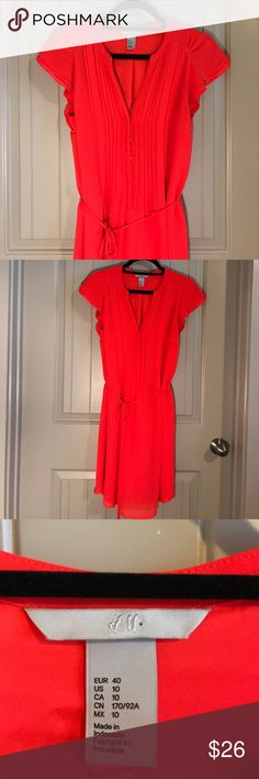 """H&M dress NWOT H&M summer dress, size 10, but looks great on size 8, also. Attached spaghetti belt. 36"""" shoulder to hem. Excellent condition. H&M Dresses"""