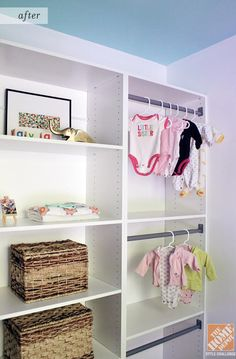 Adjustable shelves make the Martha Stewart Closet Organizing System the perfect addition to a child's closet, as the size of the hangers can be adjusted as their clothing grows! #storage #organization