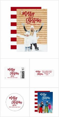 Hand Lettered Script Merry Christmas Holiday Cards