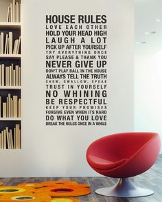 #wall #decor #wallsticker  the house rules on the wall